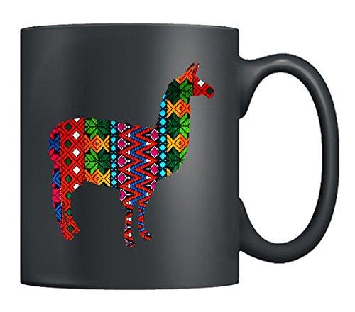 Llama Mugs - Textiles Llama Coffee Mug Ceramic, Tea Cup Black 11Oz, Best Gifts For Men, Women (Black) (Llama Teacup)