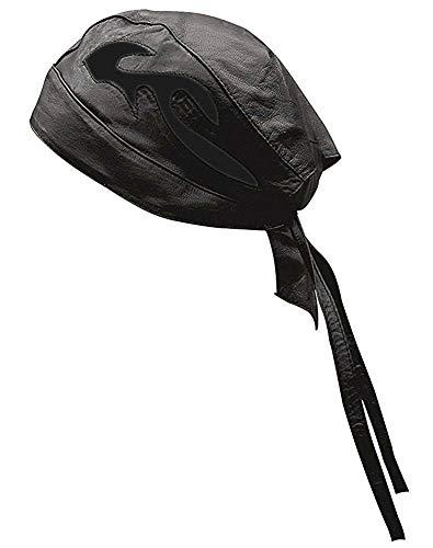 Riparo Unisex Leather Motorcycle Head Wrap and Skull Cap (Black/Black) ()