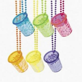 Fun Express Luau Hibiscus Shot Glass Bead Necklace (1 Dozen)]()