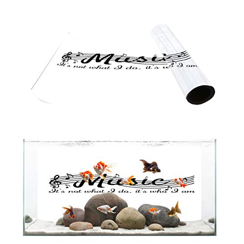 (T&H Home Aquarium Décor Backgrounds - Musica Note Black and White Fish Tank Background Aquarium Sticker Wallpaper Decoration Picture PVC Adhesive Poster, 36.4