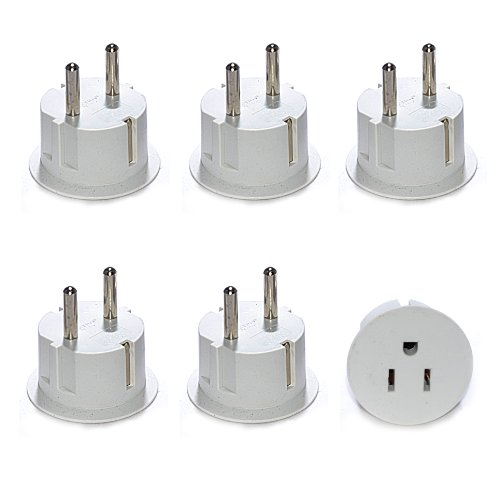 OREI American USA To European Schuko Germany Plug Adapters CE Certified Heavy Duty - 6 (220 Plug Adapters)