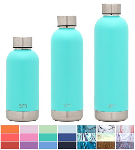 Simple Modern 12oz Bolt Water Bottle - Stainless Steel Hydro Kids Flask - Double Wall Vacuum Insulated Reusable Teal Small Metal Coffee Tumbler Leakproof Thermos - Oasis