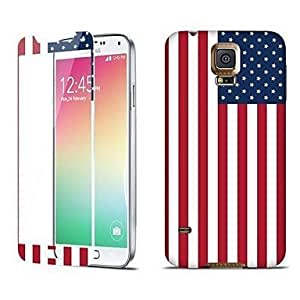 Shock Absorption Tempered Glass Protector with Assorted Back Sticker for Samsung Galaxy S5 I9600