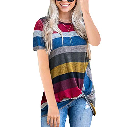 (Red Shirt Women Tunic Tops and Blouses Simple Solid Short Sleeve Knot Blouse)