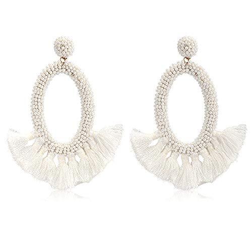 Women's Beaded Tassel Earrings Long Fringe Drop Bohemian Earings Dangle 7 Colors (Bead-White)