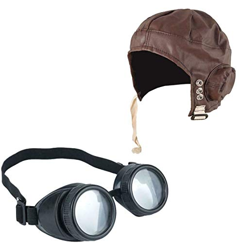 MA ONLINE Aviator Flying Pilot Goggles Biggles Hat Helmet WW2 1940s Cosplay Costume Accessory One Size]()