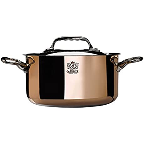 PRIMA MATERA Round Copper Stainless Steel Stewpan 8 Inch With Lid