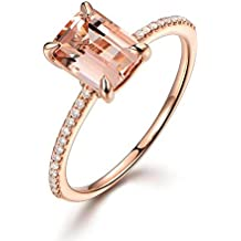 Willsa Jewelry For Women, Rose Gold Engagement Ring With A Fine Small Square Zircon Ring