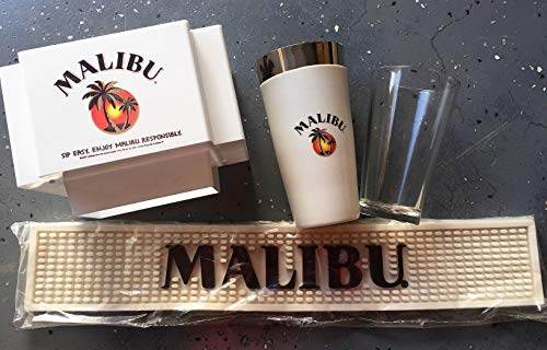 Malibu Rum Drink - MALIBU RUM GIFT SET Includes: Bar Runner Mat with Logo, Bartop Napkin Caddy with Logo and Professional Style Cocktail Drink Shaker Set with Logo