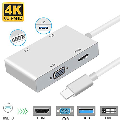 USB C to HDMI 4K Adapter, Weton USB 3.1 Type C to HDMI VGA DVI USB 3.0 Multi Monitors Hub Adapter Cable (Thunderbolt 3 Compatible) Compatible with MacBook/MacBook Pro/Chromebook Pixel Apple Dvi Hdmi Cable