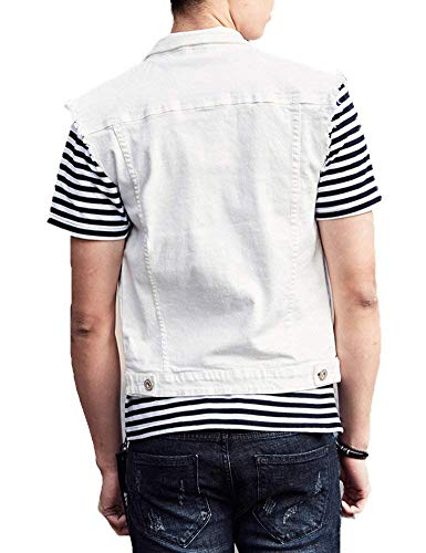 Lannister Turn White Collar Gilets Vest Down Button Denim Jackets Fit Denim Cowboy Coat Slim Jacket Sleeveless Spring Fashion Casual Outerwear Men's 0wrR0q