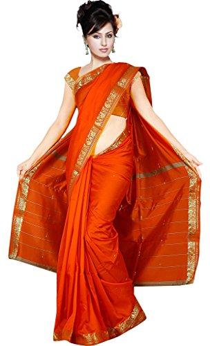 Indian Women's Traditional Art Silk Saree Sari Drape Top Veil fabric Orange
