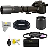 Super 500mm/1000mm f/8 Manual Telephoto Lens for Canon EOS 80D, 70D, 60D, 60Da, 50D, 40D, 30D, 1Ds, Mark III II, 7D, 6D, 5D, 5DS, Rebel T6s, T6i, T6, T5i, T5, T4i, T3i, T3, SL1 Digital SLR Cameras