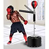 YUN HAI Heavy Training Boxing Ball with Reflex Bar, Adult & Kid Solid Speed Punching Bag Free Standing, Adjustable Height, Easy Setup &Stress Relief