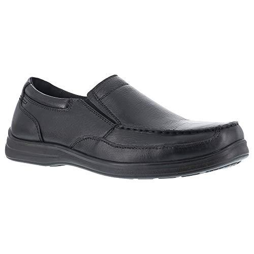 Florsheim Womens Black Leather Loafer Shoes Wily Moc Slipon Steel Toe 9 D