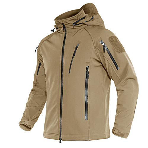 MAGNIVIT Men's Tactical Jacket 8 Pockets Winter Water Resistant Softshell Hiking Military Coats Jackets