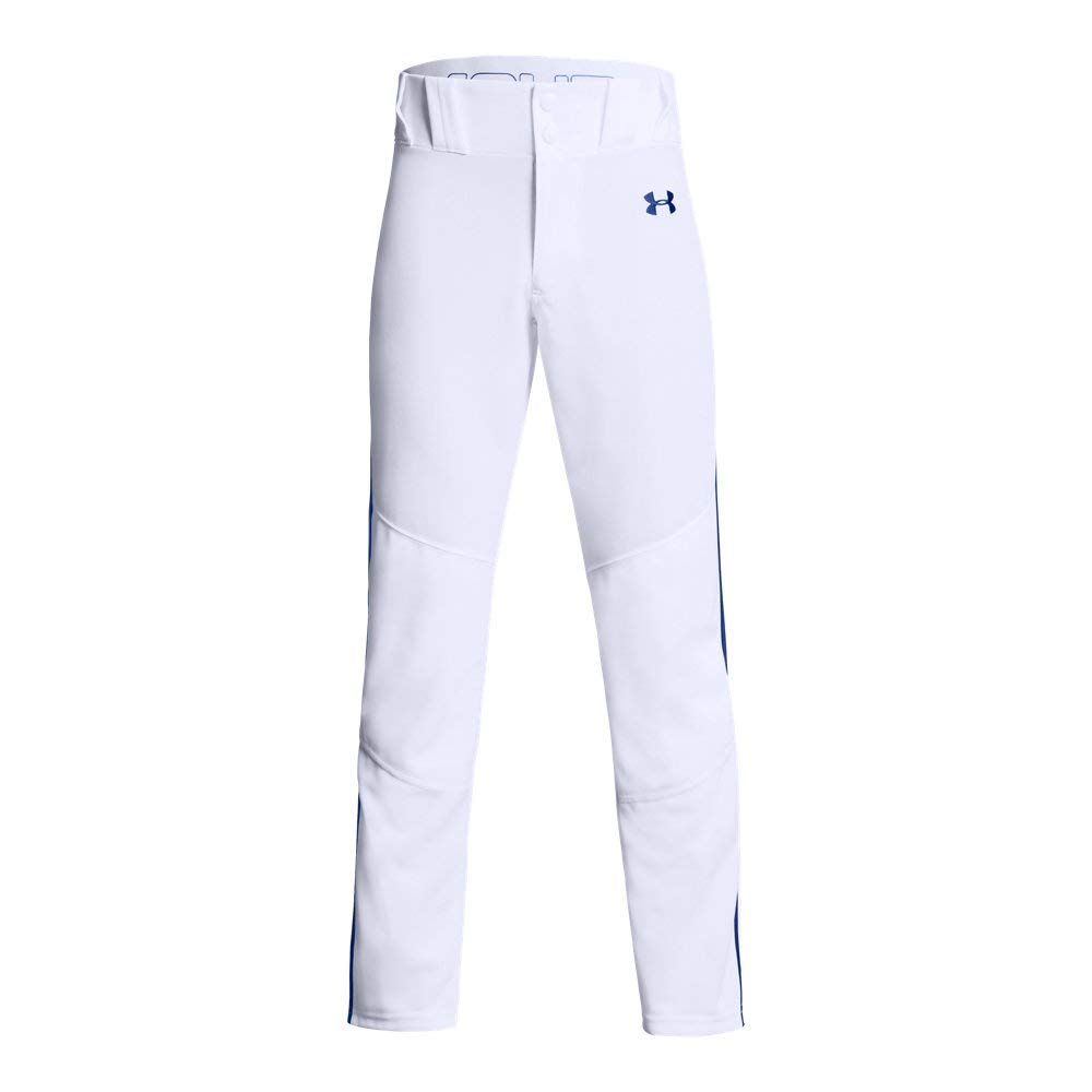 Under Armour Boys' Utility Relaxed Piped Baseball Pant, White (101)/Royal, Youth X-Large by Under Armour