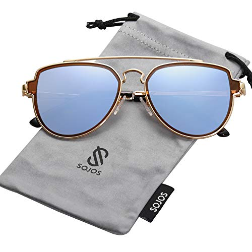 SOJOS Fashion Polarized Aviator Sunglasses for Men Women Mirrored Lens SJ1051 with Gold Frame/Dusty Blue Mirrored Polarized Lens