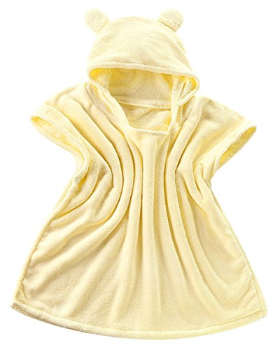 Price comparison product image Ameyda Cosplay Costumes Unisex Kids Baby Toddlers Boys Girls Bear Ears Hooded Fleece Poncho Bath Robe Towel,  Yellow 0-3 Years / (W22-L24)