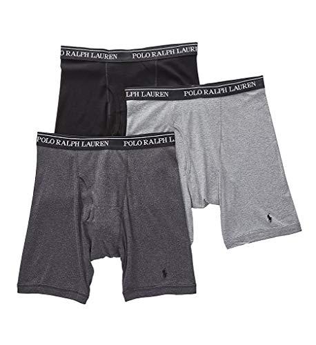 Polo Ralph Lauren Long Leg Boxer Briefs with Moisture Wicking, 100% Cotton - 3 Pack (XL, Andover Heather) (Mens Long Rise Boxer Briefs)