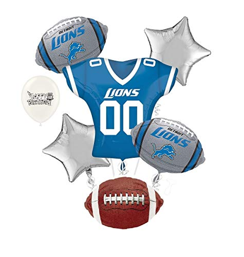 Lions Football Balloon - Detriot Lions NFL Football Party Balloon Bouquet Bundle