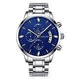 KASHIDUN Men's Watches Luxury Sports Casual Quartz Wristwatches Waterproof Chronograph Calendar Date Stainless Steel Band Black Color (B Blue)