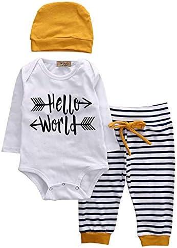 Vavshop Nouveau n/ée B/éb/é Gar/çon Fille v/êtements Manche Longue Blanc Barboteuse Body Tops Stripes Pantalon Legging+Hat 3PCS Outfits Set