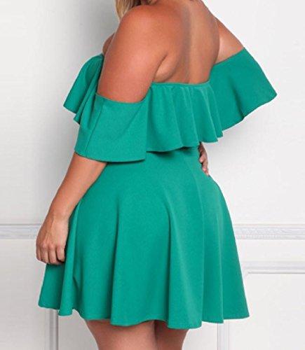Verde Epoca Abito Solido Colore donne Grandi Senza Bretelle Dimensioni Coolred Elegante Spiaggia Falbala 6R74qw