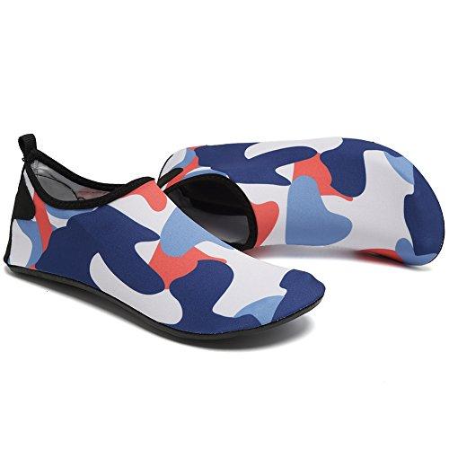 Sunmile Mutifunctional Lichtgewicht Op Blote Voeten Vrouwen Mannen Kinderen Sneldrogend Water Sportschoenen Voor Zwemmen Strand Zwembad Surfen Yoga Camo Blauw