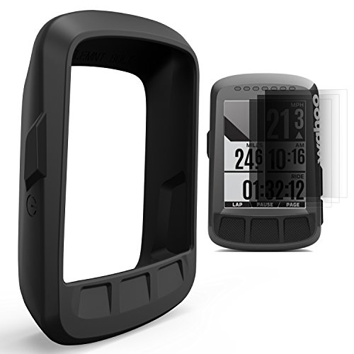 TUSITA Silicone Skin Case Cover for Wahoo Elemnt Bolt GPS Bike Computer with Screen Protector (Black)
