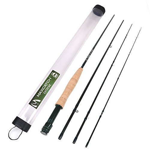 M MAXIMUMCATCH Maxcatch Extreme Fly Rod Graphite 4-Piece Fly Fishing Rod (Size: 3wt, 4wt, 5wt, 6wt, 8wt) (Green, 8'4'' 3weight)