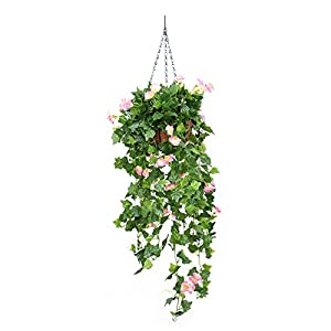 2Pcs Artificial Flowers Fake Morning Glory Vine Hanging Plant Green Leaves Garland with Hanging Basket for Wedding Party Garden Wall Decoration 59