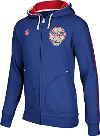 Adidas Philadelphia 76ers Originals NBA Springfield Vintage Full Zip Hooded SweatShirt Camisa