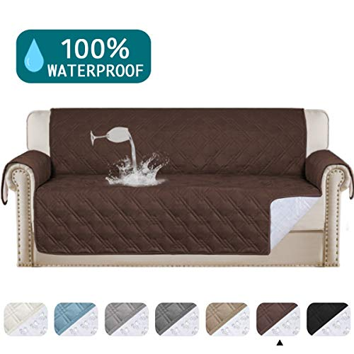 "100% Waterproof Sofa Protector For Leather Sofa Cover Brown Couch Covers for Dogs Pet Waterproof Couch Protector For Living Room Furniture Covers, Non-Slip, Machine Washable (Sofa 68"", Brown)"