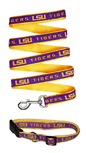 LSU Tigers Nylon Collar and Matching Nylon Leash for Pets (NCAA Official by Pets First) Size Medium by Pets First