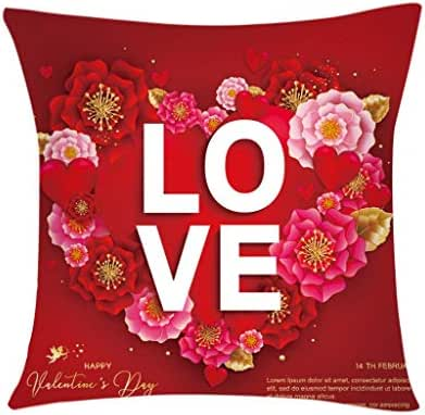 Houshelp Valentines Pillow Cover for Couch Love Red Pink Sweet Heart Happy Valentine's Day Decorations Throw Pillow Home Decor Pillowcase Faux Linen Cushion Case Sofa Throw Pillow Home Decor 45x45cm