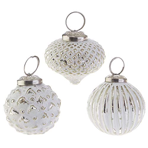 RAZ Imports Metallic Whitewash Diamond Patterned Glass Assorted Boxed Set of 3 Ornaments