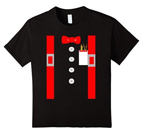 Kids Nerd Costume Shirt Red Suspenders Pocket Protector 8 Black