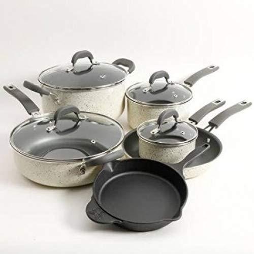 The Pioneer Woman Vintage Speckle 10-Piece Non-Stick Pre-Seasoned Cookware Set (Linen)