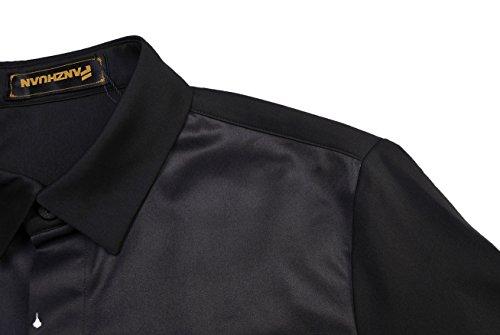 FANZHUAN Hemd Herren Bügelfrei Modern Slim Fit Aufdruck Elegant Print Gute Qualität