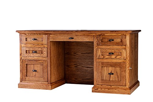 Forest Designs Mission Oak Executive Double Pedestal Desk: 72W x 30H x 28D 72w Golden - Office Executive Golden Oak