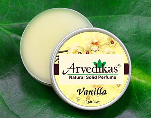 - Arvedikas Vanilla Natural Solid Perfume Beeswax/Mini Jar/Floral Fragrance/Vanilla Perfume/Essential Oil Blend Perfume Body Musk/Body Parfum/Gift for Her / 10gm (29 Varieties) (Vanilla)