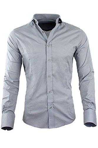 RBC Redbridge by CIPO & BAXX Slim Fit Hemd Polo Shirt Kentkragen Polo R-2116 Verschiedene Farben (S, Grau)