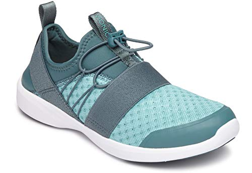 Ladies Slip Ons - Vionic Women's Sky Alaina II Slip-on Active Sneaker - Ladies Walking Shoes with Concealed Orthotic Arch Support Turquoise 5 M US