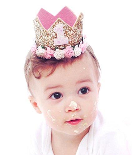 RQJ Baby Girls Birthday Gold Crown Glitter Headband Floral Rose Elastic Hairband Princess Craft Headwear Hat with Ribbon for Birthday Accessories (1P)