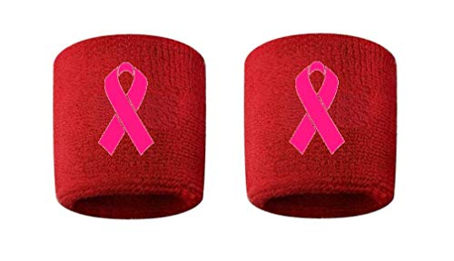 CustomSweatbands Breast Cancer Awareness Embroidered/Stitched Sweatband Wristband RED Sweat Band w/Pink Ribbon (2 Pack)