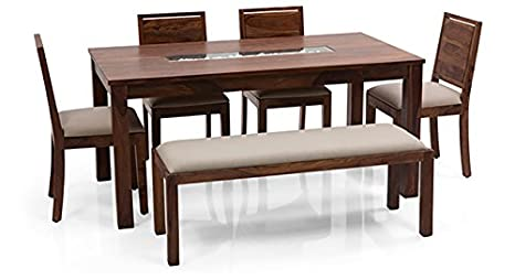 Benton Roman Six Seater Dining Table Set With Upholstered Bench