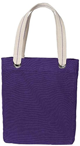 100% Garment Washed Cotton Canvas Colorful Allie Stylish Fancy Daily Tote Bag (PACK OF 8, Purple) by BagzDepot