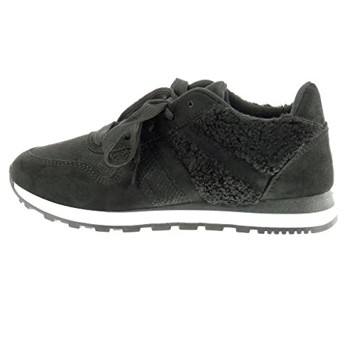 flat snakeskin Trainers Black Angkorly heel bi Shoes 2 Women's fur CM material Fashion CH8ZHgqw