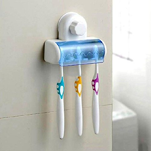 HuaYang Home Bathroom 5 Hook Wall Mount Toothbrush Spin Brush Hanging Holder With Lid